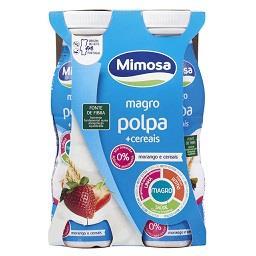Iogurte liquido magro polpa + cereais de morango