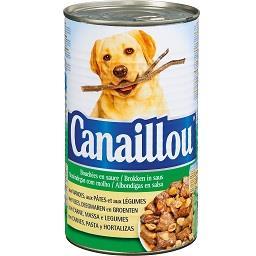 Alimento húmido para cão com carne, massa e legumes