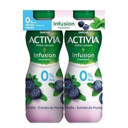 Iogurte liquido activia 0% infusion mirtilo menta