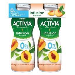 Iogurte liquido activia 0% infusion pêssego e chá ve...
