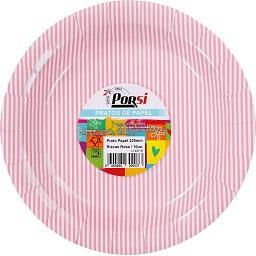 Pratos de papel riscas rosas 23 cm
